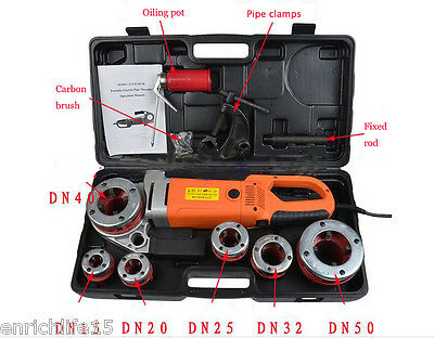 Portable Electric Pipe Threader With 6 Dies Threading Machine, Handheld portable