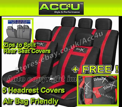 Pads Steering Seat Covers Alaska Black Leather Look Airbag OK Car Split Rear