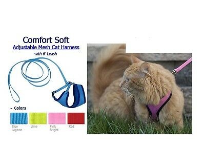 Comfort Soft Mesh Harness combo for Cats - with 6' Leash - Adjustable, 4 colors