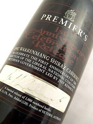 1992 WARRENMANG Jeff Kennett  1st Premiers Shiraz Cabernet Isle of Wine