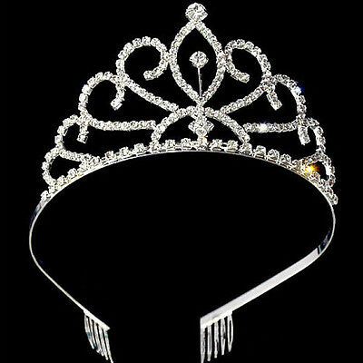 Best Bridal Princess Austrian  Crystal Hair Tiara Wedding Crown Veil Headband