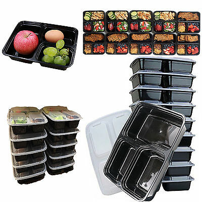 10 Meal Prep Container With Lip Food Storage Reusable Microwavable 3 Compartment