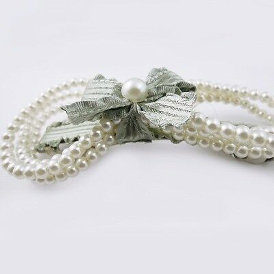 1pc 35365 New Design Light Green Bowknot Pearl Decor Hairpin Jewelry 110*50*22mm