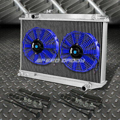 "3-Row Aluminum Radiator+2X 10""fan Blue For 86-92 Supra A70 Mk3 1Jz/7M Ge/gte"