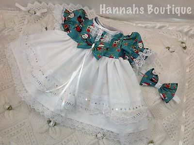 Hannahs Boutique 0-3 Mth Baby Frilly Xmas Dress & Headband Set Or Reborn 20-24""