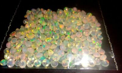 2mm Round 25 Pc Natural Ethiopian Opal Faceted Cut Gemstone Top Quality DDL63