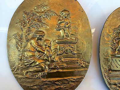 Rare Pair Of French Bronze Médaillon Sconces With Angels Scenes 1800's