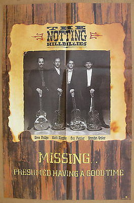 NOTTING HILLBILLIES Missing... 1990 US Promo POSTER Mark Knopfler DIRE STRAITS