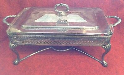 VINTAGE GLASS PYREX DISH WITH SILVER PLATED CARRY CADDY & Lid