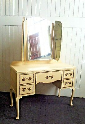 Antique vintage style painted wing mirror Queen Anne dressing table