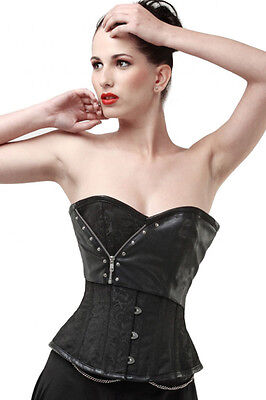 2pcs Black Brocade Corset with Faux Leather Detail