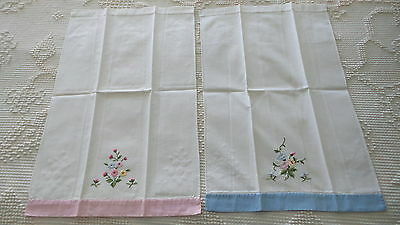 Vintage Cotton Guest Towel Pair Embroidered Flowers, Pink & Blue Border