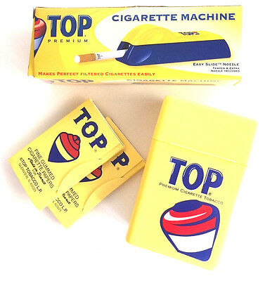 TOP Combo- 2 Packs Rolling Papers/ Cigarette Machine/ Plastic Cigarette Case Box