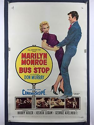 BUS STOP One Sheet Movie Poster 1956 Marilyn Monroe cowboy Don Murray on LINEN