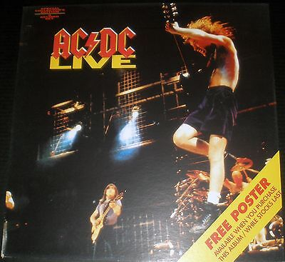 Ac/dc Live 2 Record Set 1992 Vintage Music Record Store Promo Display Poster