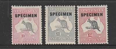 "KANGAROO C of A WMK ""SPECIMEN"" SET OF THREE COMPLETE MINT AND FRESH VERY ""RARE"""