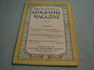 ANTIQUE NATIONAL GEOGRAPHIC July 1924 NON-STOP FLIGHT ACROSS AMERICA CAMERA VIEW