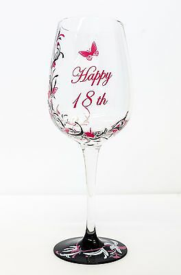 Hand Painted Wine Glass 18th Birthday Gift | Pink for Girl | Personalised