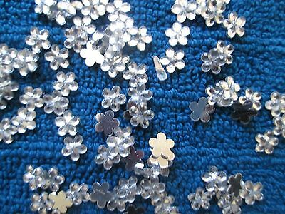 100 Small Clear Rhinestone Flat Back Flowers Diy Bulk