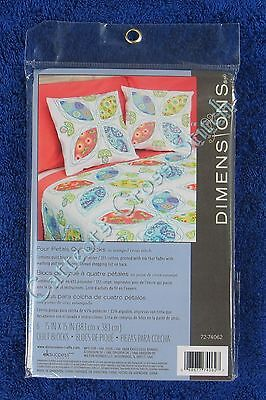 Stamped Cross Stitch Quilt Blocks Four Petals Bright Dimensions Set of 6
