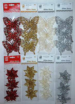 Pack of 3 Clip-On Glitter Poinsettia / Butterflies Christmas Tree Decorations