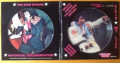 """ELVIS PRESLEY My Life 2 x 7"""" Picture Disc in Numbered (1388) G/fld Sleeve VGC"""