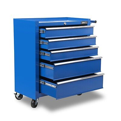 5 Drawers Roller Tool Box Cabinet Blue Mechanic Storage Chest Trolley Wheel