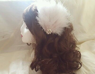 Ivory Pearl, Diamante & Feather 1920's Gatsby Feather Hair Clip