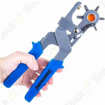 HEAVY DUTY REVOLVING PUNCH PLIERS Strong Belt Leather Eyelet Hole Maker 2-4.5mm