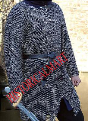 MEDIEVAL HUBERK  SHIRT X LARGE  FULL SLEEVE~ Aluminum Round Riveted Chainmail
