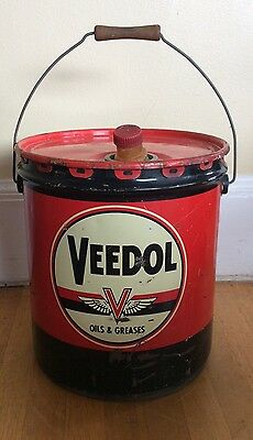 Vintage Antique Tidewater VEEDOL 5 gallon can Multi gear Oil Flying V  1950's