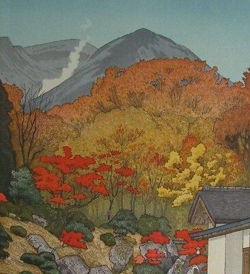 Toshi Yoshida Japanese woodblock, Autumn in Hakone Museum posthumous edition