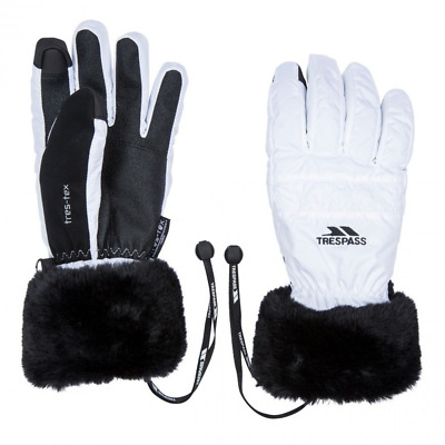 New Ladies Trespass Thermal Waterproof Winter Ski Gloves Black White S M L