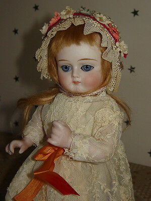 """Antique Early  Almond Sleep Eye All Bisque French Wrestler  Doll 7.5""""in"""