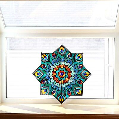 Stained Glass Panel for Window Tiffany Style Suncatcher Mission Victorian Star
