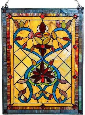 Tiffany Style Firey Hearts And Flowers Stained Glass 24-inch Window Panel