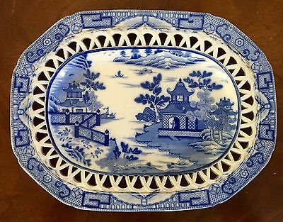 Antique Staffordshire Pearlware Reticulated Platter Under Plate Blue Willow 19th