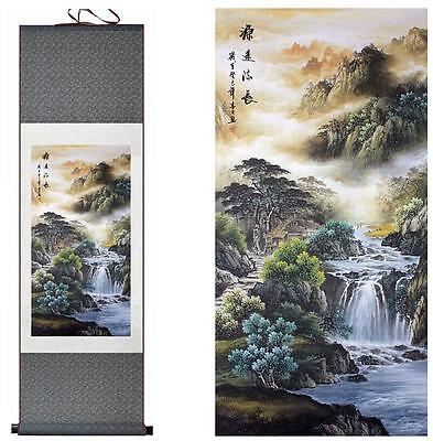 """Mountain and River painting Chinese scroll painting silk scoll painting  12""""x40"""""""