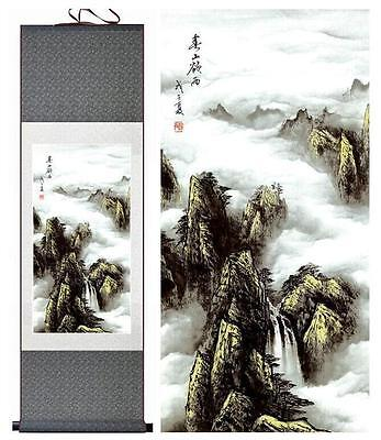 "Mountain and river painting Home Office Decoration silk scroll painting  12""x40"""