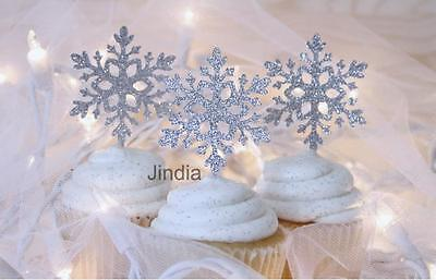10pcs Silver Snowflake Toppers Picks for Christmas Birthday Party Cake Decor