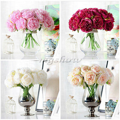 5 Heads Artificial  Peony Silk Flower Bridal Hydrangea Home Wedding Garden Decor