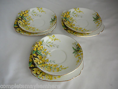 Royal Standard England Laburnum 3 saucers 3 side plates no cups high tea party