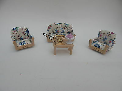 Sylvanian Families Sofa And Armchairs, Side Table, Telephone And Bowl Of Fruit
