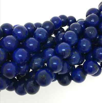Wholesale Natural Genuine Blue Lapis Lazuli Round Loose Gems Beads 8-10mm 15""