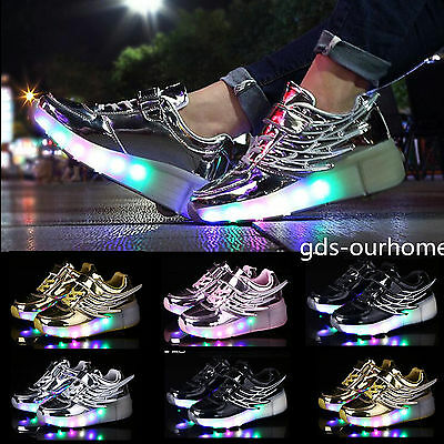 UK Kids Retractable Wheel Youth Boys Girls LED Light Up Shoes Trainers Heelys FF