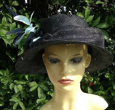 Stunning Hatbox Midnight Blue Occasion Hat Races / Weddings