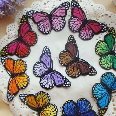 Pretty Cloth Sew DIY Patch Embroidered Butterfly iron on Appliques/scrapbook UK