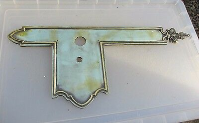 Victorian Brass Finger Plate Push Door Handle Antique WT&S Vintage Old Gilt Leaf
