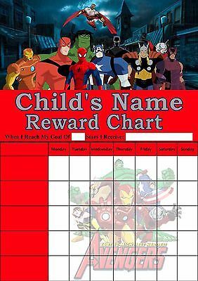 Personalised. Avengers Reward Chart/Potty Training/Behaviour. Re-useable.