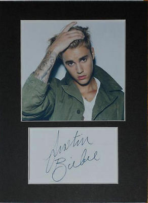 Justin Bieber photo print mounted 8x6 signed printed autograph gift display